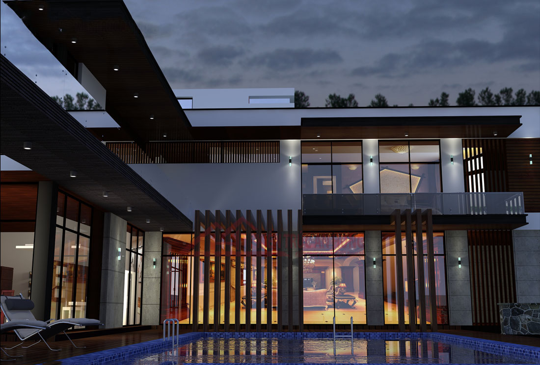 Thiết kế biệt thự có hồ bơi trong nhà
