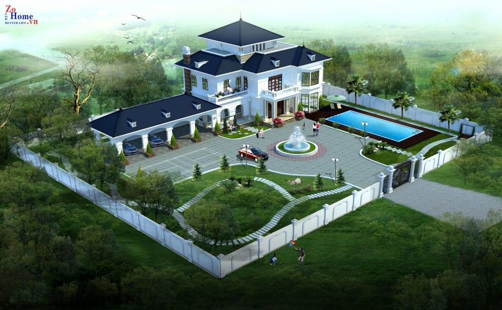 Thiết kế xây dựng biệt thự kiểu Pháp Hải Dương